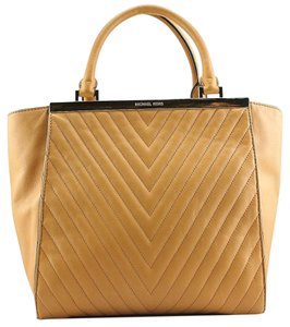 af835aa1bcda Michael Kors Quilted Large Leather Tote in Sun Tan