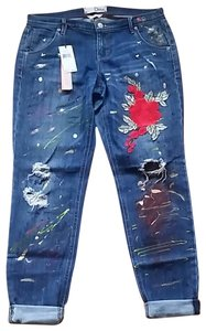 Dittos Embroidered Patches Handpainted Emroidered Upcycled Boyfriend Cut Jeans-Medium Wash