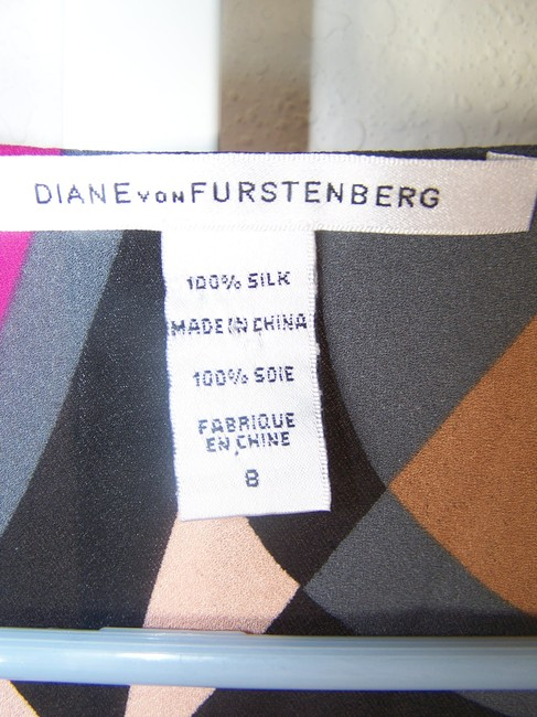 Diane von Furstenberg Top black pink blue gray