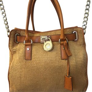 Michael Kors Satchel in straw with luggage brown