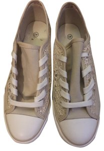 European Boutique Shell Toe Sequin Sneakers Nude Athletic