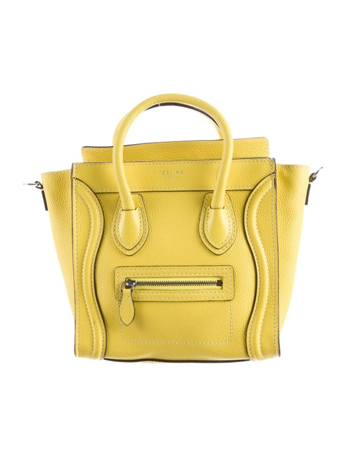 Item - Luggage Grained Calfskin Nano Tote Yellow Leather Cross Body Bag