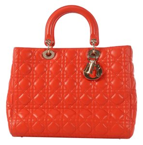 Dior Quilted Gold Zipper Cd.l0320.11 Cannage Lady Satchel in Orange