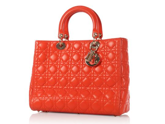 Dior Quilted Gold Zipper Cd.l0320.11 Cannage Lady Satchel in Orange Image 1