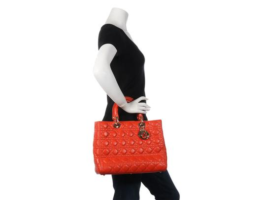 Dior Quilted Gold Zipper Cd.l0320.11 Cannage Lady Satchel in Orange Image 10