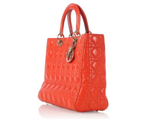 Dior Quilted Gold Zipper Cd.l0320.11 Cannage Lady Satchel in Orange Image 2