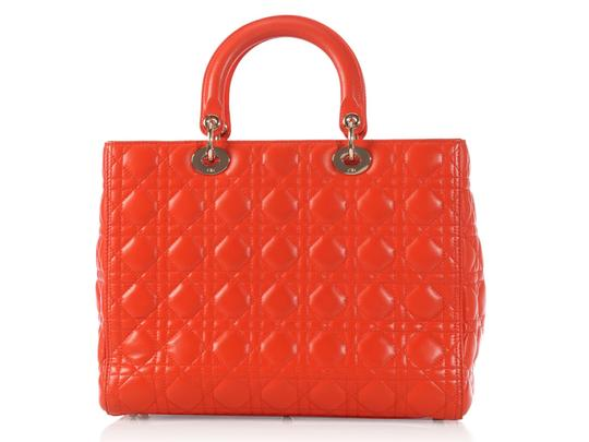 Dior Quilted Gold Zipper Cd.l0320.11 Cannage Lady Satchel in Orange Image 3
