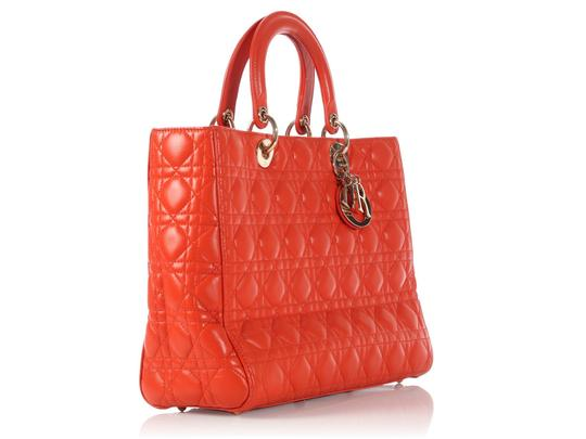 Dior Quilted Gold Zipper Cd.l0320.11 Cannage Lady Satchel in Orange Image 4