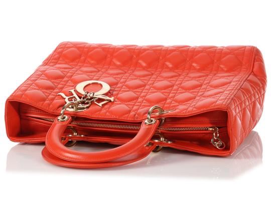 Dior Quilted Gold Zipper Cd.l0320.11 Cannage Lady Satchel in Orange Image 5