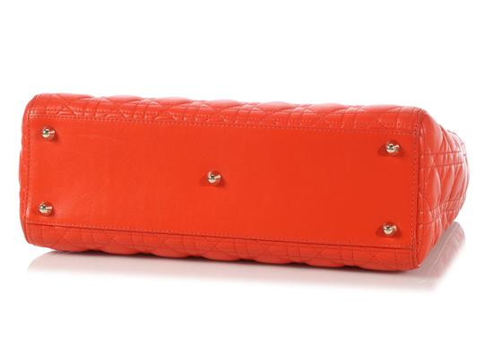 Dior Quilted Gold Zipper Cd.l0320.11 Cannage Lady Satchel in Orange Image 6