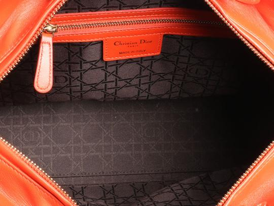 Dior Quilted Gold Zipper Cd.l0320.11 Cannage Lady Satchel in Orange Image 7