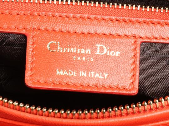Dior Quilted Gold Zipper Cd.l0320.11 Cannage Lady Satchel in Orange Image 8