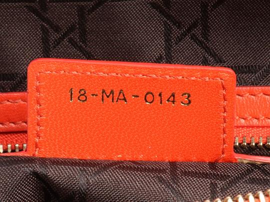 Dior Quilted Gold Zipper Cd.l0320.11 Cannage Lady Satchel in Orange Image 9