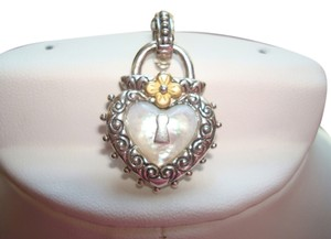 Barbara Bixby Barbara Bixby Sterling Silver and 18K Yellow, Mother-of-Pearl Heart and Lock Enhancer - J13186