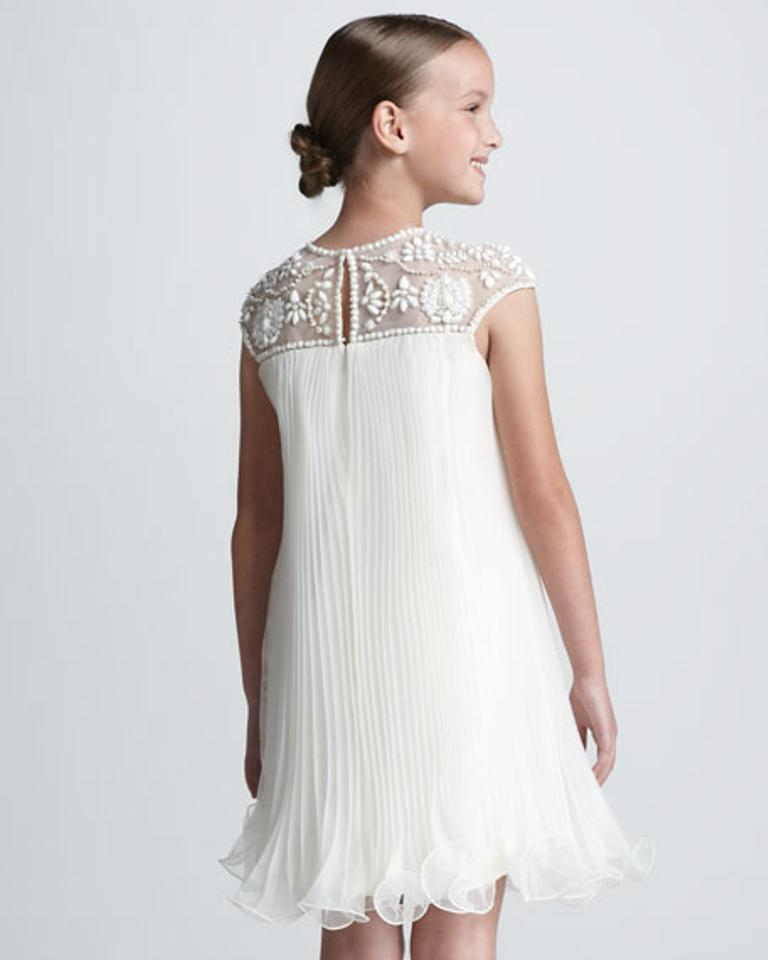 Marchesa White Sold Out Girls Hand Beaded Short Formal Dress Size