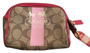 Coach Coach Pink Heritage Stripe Cosmetic Case
