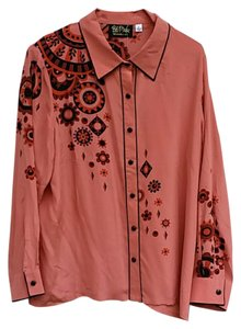Bob Mackie Hand Screened Button Down Shirt coral