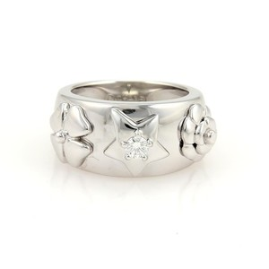 Chanel Diamond Flowers & Star 18k White Gold Wide Band Ring Size 4.5