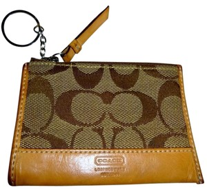 Coach Khaki/Tan Signature Canvas MINI SKINNY Coin Purse w/Key Ring 6K25