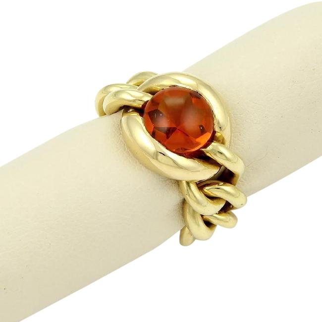 Item - Yellow Gold 18k 4ct Cabochon Citrine Chain Link Flex Band Ring