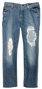 7 For All Mankind Destroyed Ripped Straight Leg Jeans-Distressed