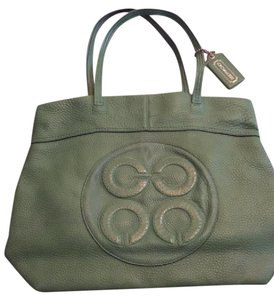 Coach Leather Op Art Polka Dot Tote in Green