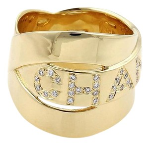 Chanel Diamond 18k Yellow Gold Interlaced Style Wide Band Ring Size 4