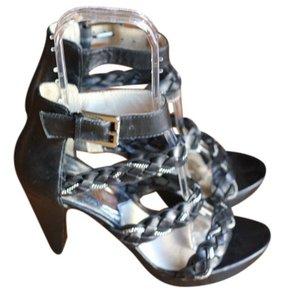 Michael Kors Black With Silver Hardwar Sandals