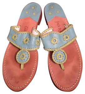 Jack Rogers Leather Bronze Pastel Shades of green and blue Sandals