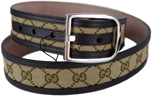 Gucci Gucci Mens 449716 Beige Brown Canvas Leather GG Guccisisma Belt 105/42
