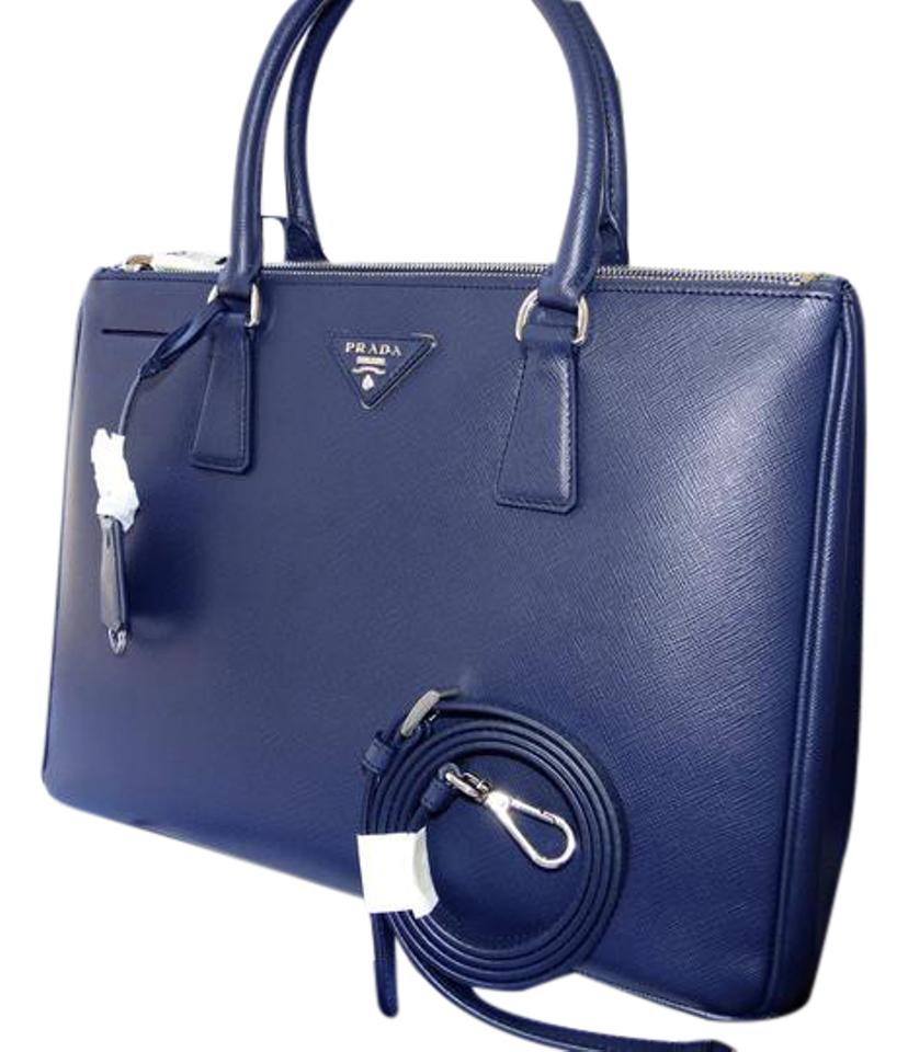 627b81350623 Prada Galleria Double Lux Tote Baltico 1bh274 Blue Saffiano Leather Satchel