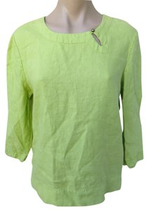 Hot Cotton Linen Cotton Blend Size Medium Boxy Easy Fit Top Green