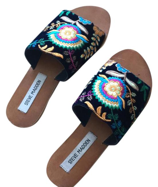 Item - Black with Multi Colored Flowers Anne Sandals Size US 7 Regular (M, B)