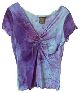 mm Tie Dye Leather V-neck Top purple and blue