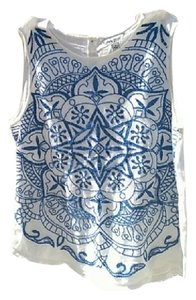 Lucky Brand Lightweight Embroidered Sleeveless Top White