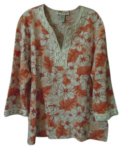 Cathy Daniels Floral Macrame Top orange and white