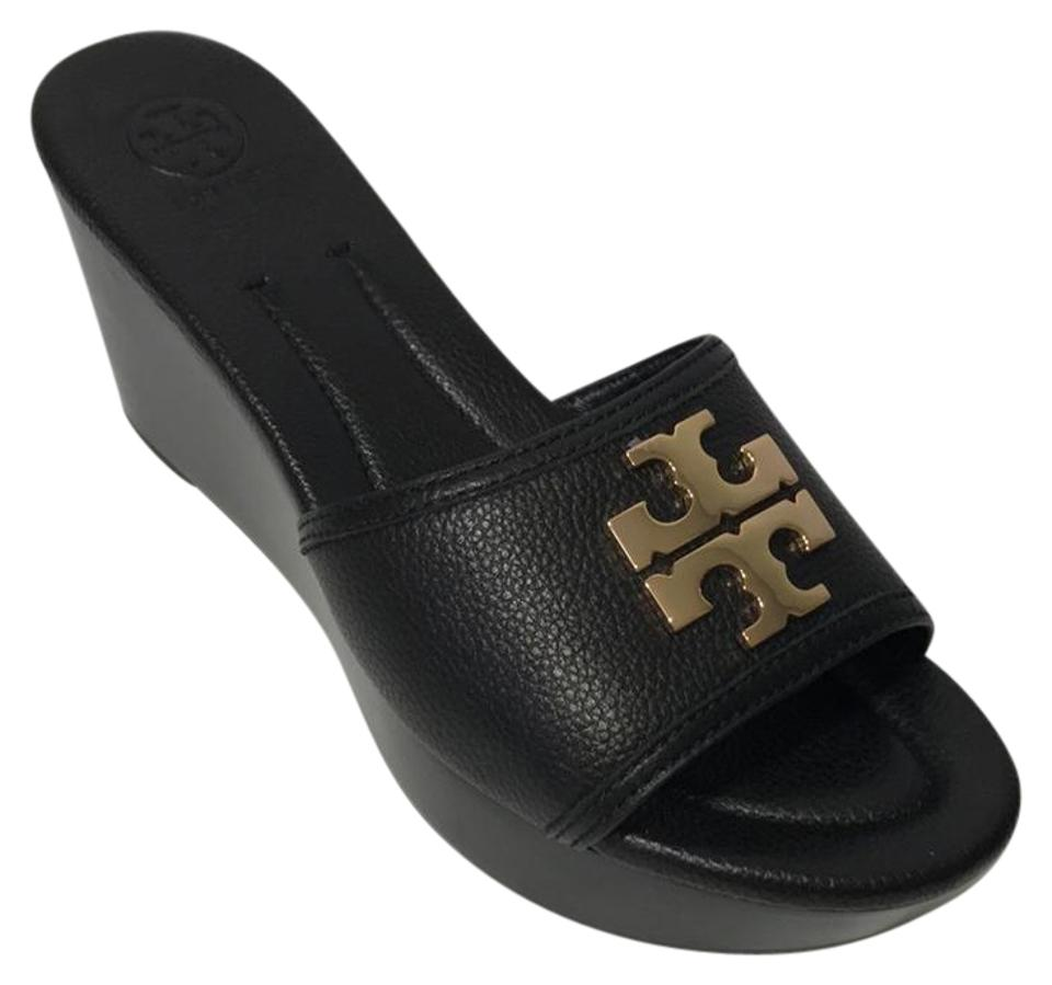 6c67ae87862 Tory Burch Black Laura 80mm Wedge Slide Sandals Size US 8.5 Regular ...