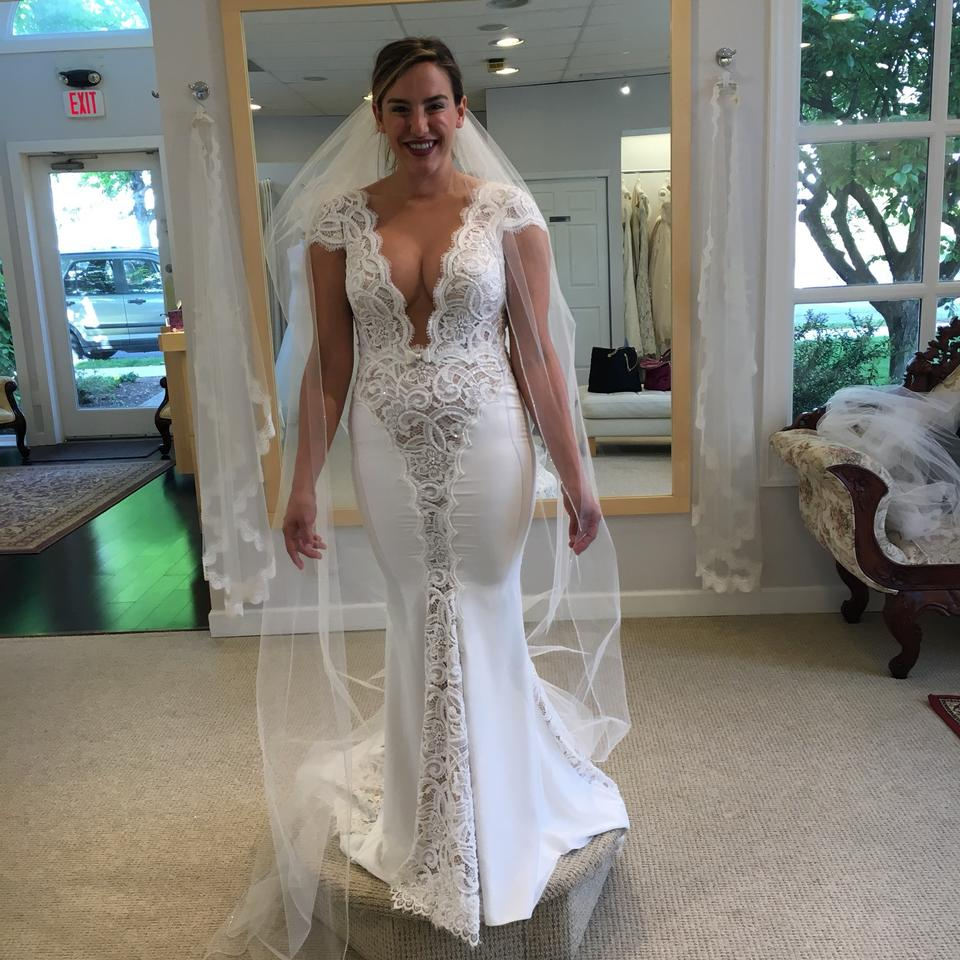 Berta bridal white creamy white lace crystals material is stretchy 123456789 junglespirit Choice Image