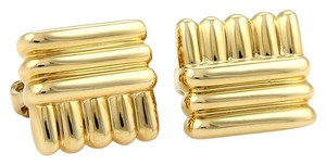 David Webb 11861 - Rare Vintage 18k Yellow Gold Fancy Ribbed Clip On Earrings