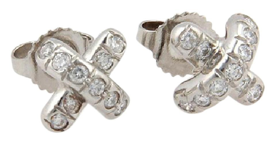 diamond earrings i stud tiffany leaves garland platinum and co
