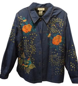 Indigo Moon Blue with colorful embroidered embellishments Jacket