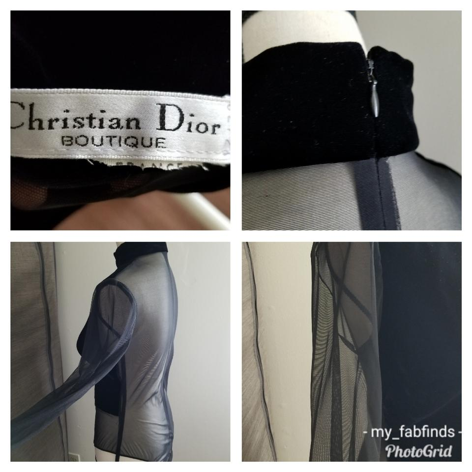 0b5f61960b Dior Sheer with Velour Black Top - Tradesy