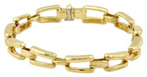 Henry Dunay Designs 13953 - 18k Yellow Gold Hammered Fancy Chain Link Bracelet