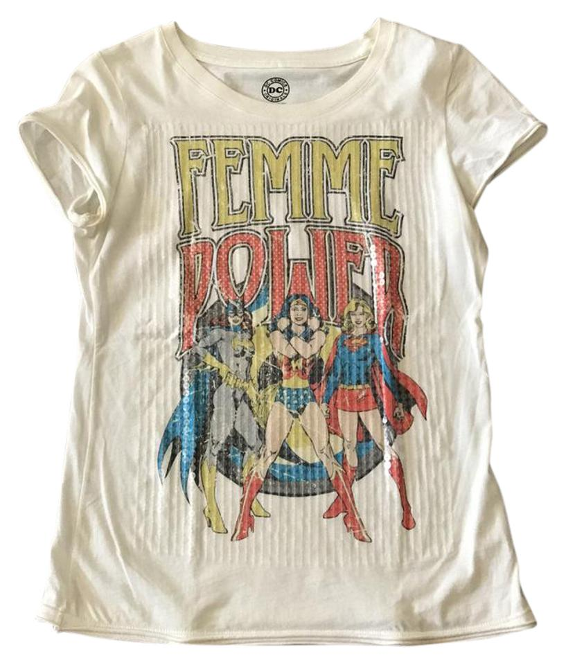 5f412c72 Zara Femme Power T-shirt Sequin Wonder Woman T Shirt Off-white Image 0 ...