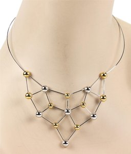 Chimento Polished Choker Bead 18k Two Tone Gold Necklace