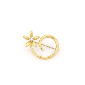 Asprey Daisy Spiral Diamond 18K Gold Pin Brooch
