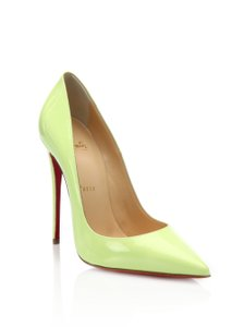 Christian Louboutin Pointed Toe Neon Patent Leather So Kate Pigalle Green, Yellow Pumps