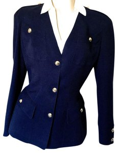 Thierry Mugler FABULOUS THIERRY MUGLER NAVY BLUE FITTED BLAZER, SIZE 42