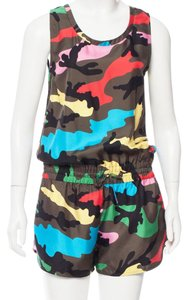 Valentino Camo Print Sleeveless Silk Dress