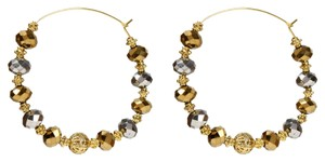Amrita Singh Amrita Singh Gold Thin Wire Big Hoops With Gold Gun Metal Beads